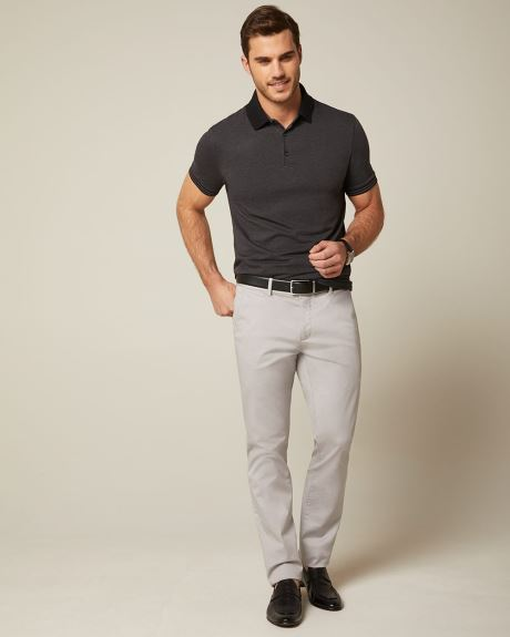 Short sleeve two-tone polo
