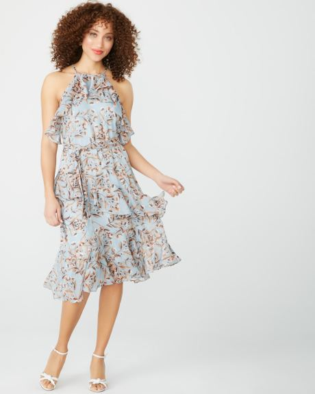 Ruffled cocktail dress in floral lurex print