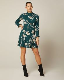 Frilled fit and flare floral dress
