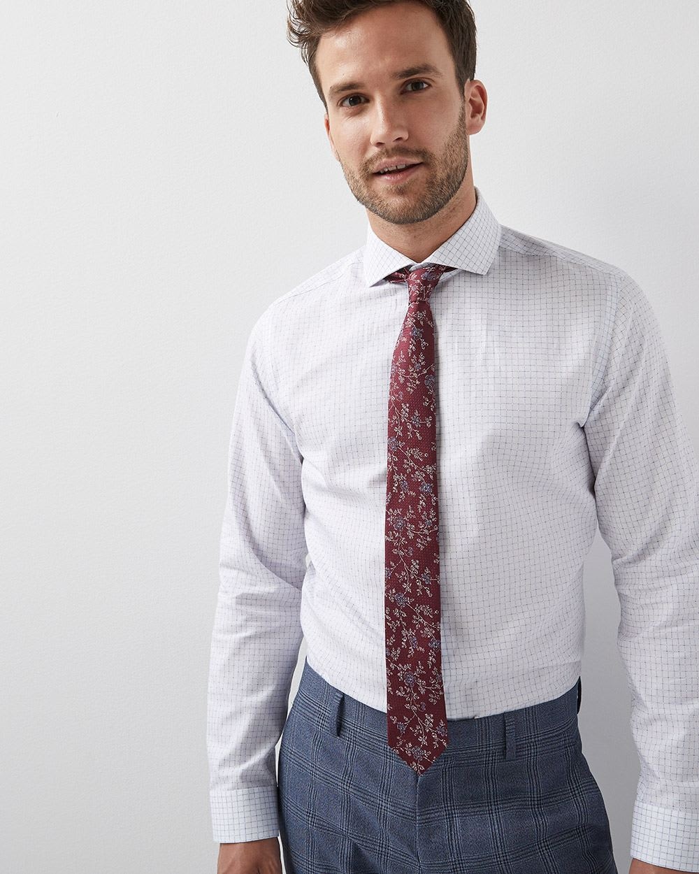 Tailored Fit Grid Check Dress Shirt Rwco