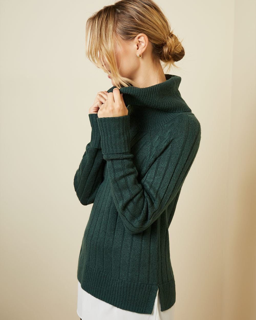 C&G Mixed media cowl-neck tunic sweater