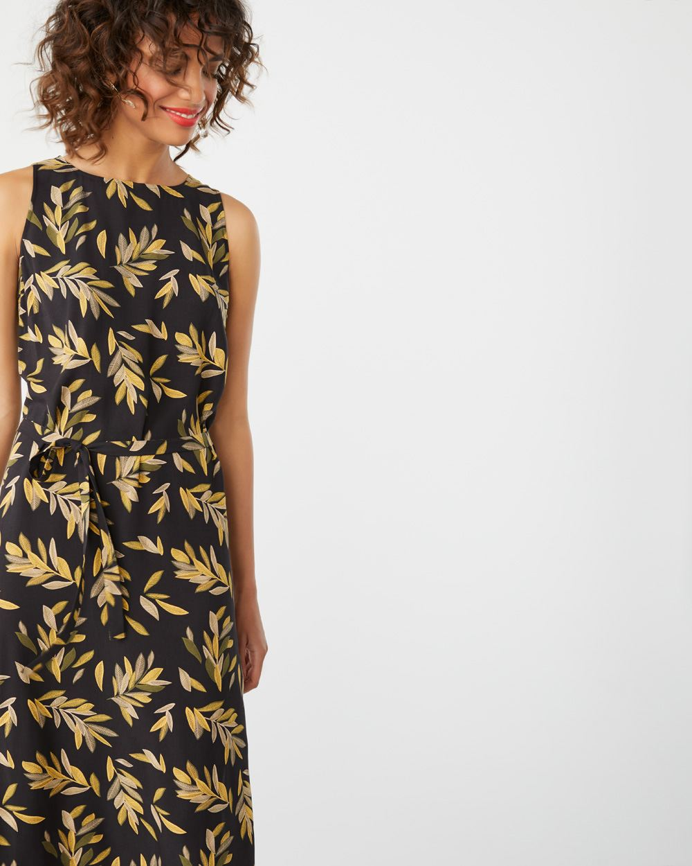 Belted Challis midi dress