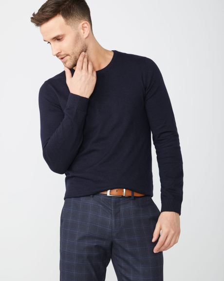 Crew-neck sweater with textured stitch