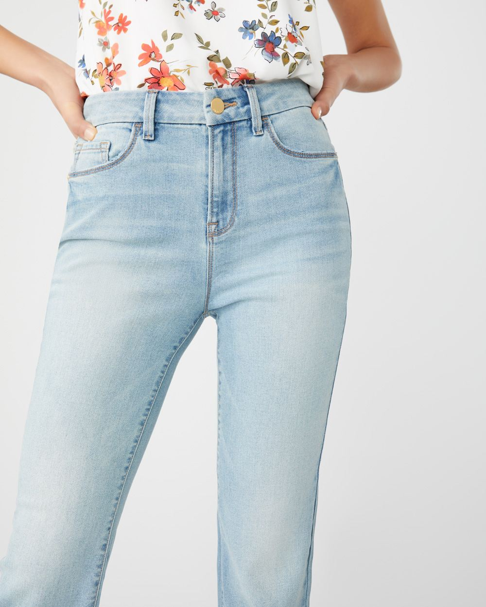 High-waisted crop flare leg jeans