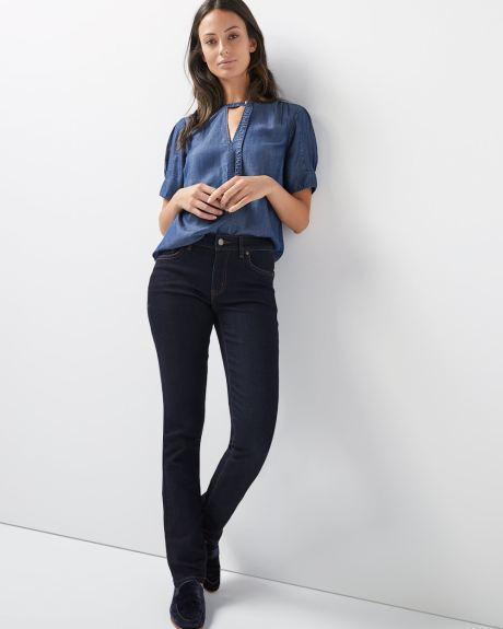 Mid-rise Straight leg jeans in raw wash denim