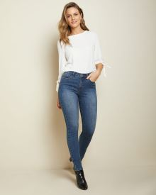 High-waisted skinny jeans in medium blue denim - 30''