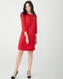 3/4 sleeve crepe shift dress