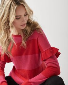Cashmere-like loose fit sweater with shoulder frills