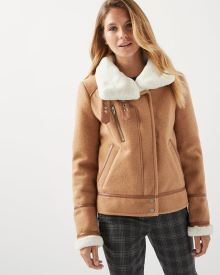 Wool-blend shearling biker jacket