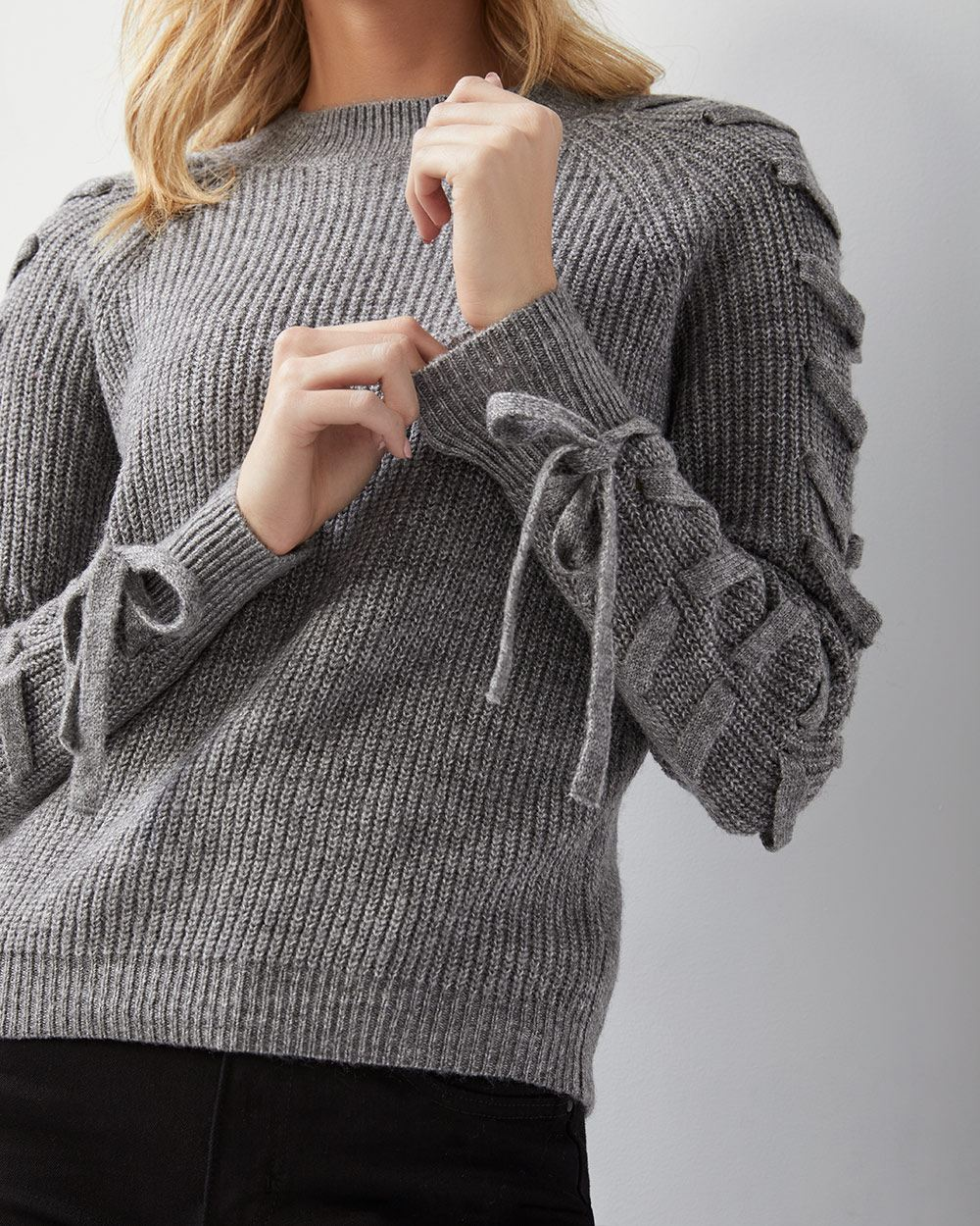 22829428c0 Lace-up sleeve sweater