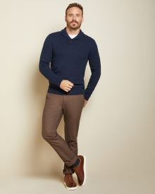 Nepped shawl collar sweater