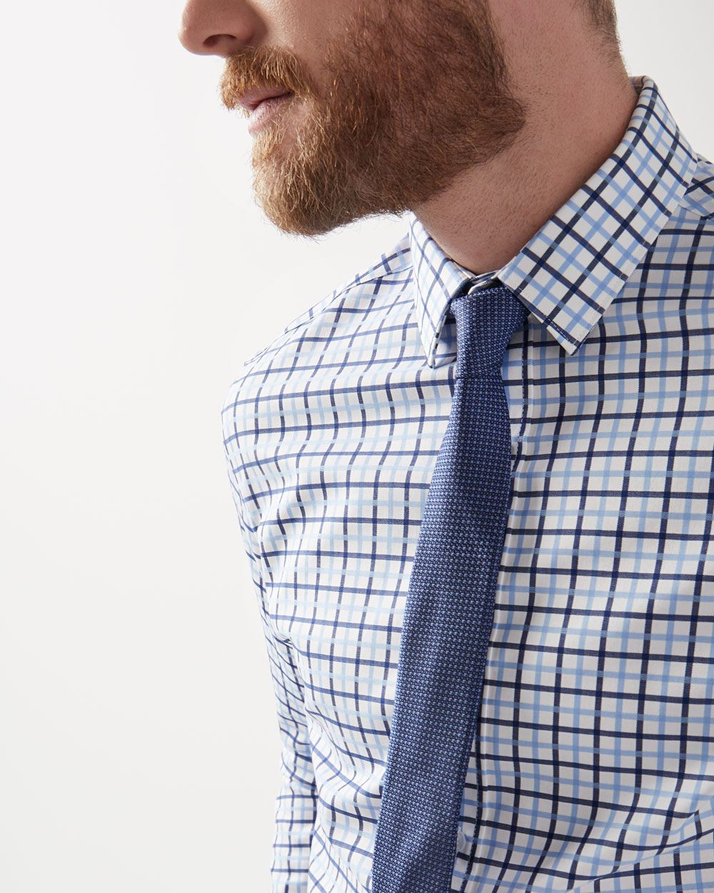 Tailored fit blue check dress shirt