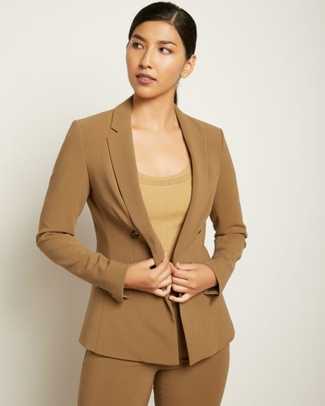 Loose Fit Faux Double-Breasted Solid blazer