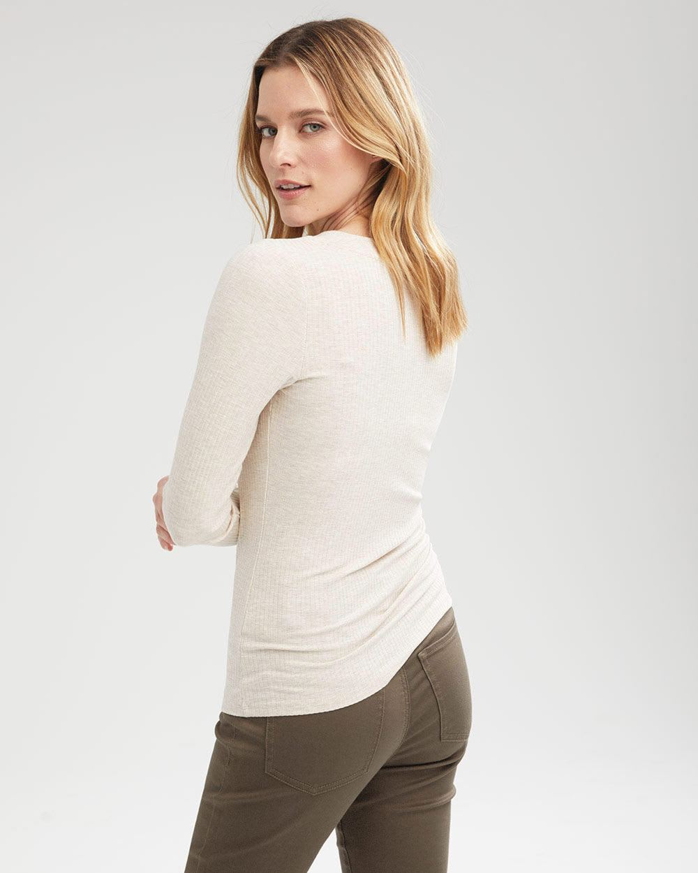 Long Sleeve Ribbed Buttoned Henley Top