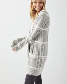 Long Open-front plaid cardigan