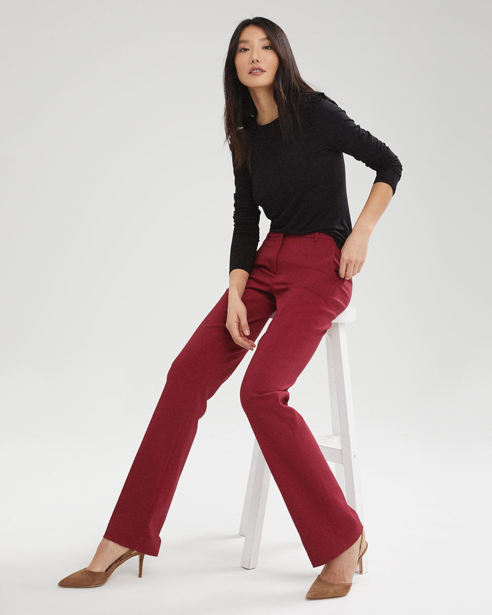 Solid Signature Fit Semi-Flare Leg Pant
