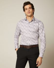 Slim fit floral and leaf dress shirt