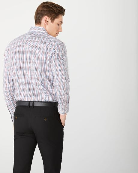 Athletic fit grid check dress shirt