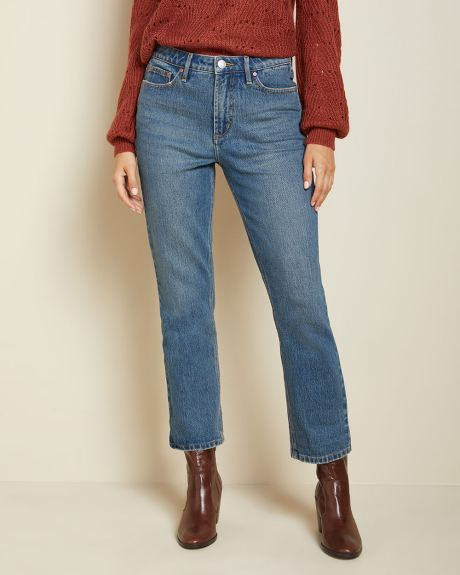 High-rise straight leg jeans in vintage wash - 26''