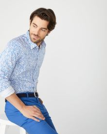 Tailored Fit Blue foliage Dress Shirt