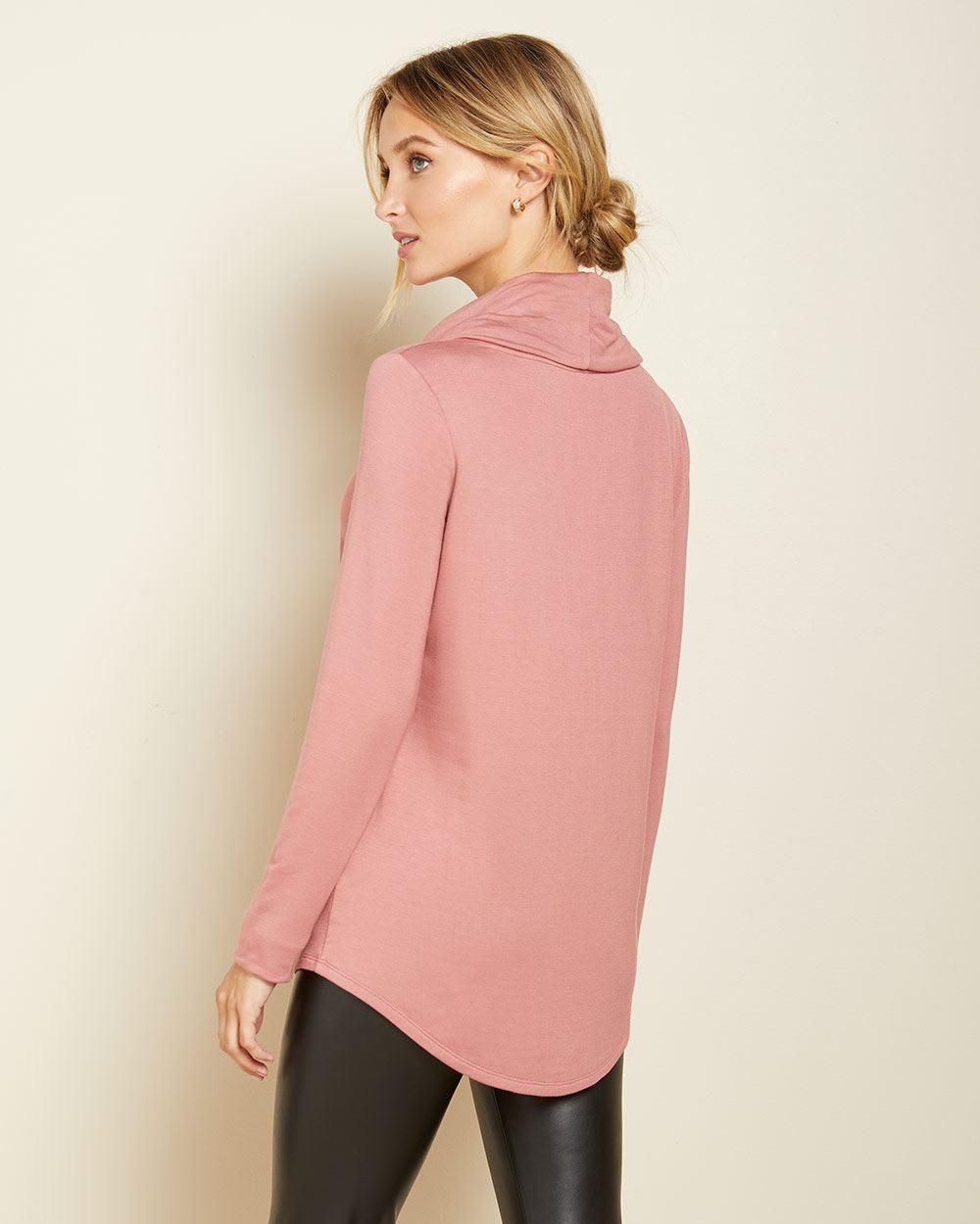 C&G Fleece cowl-neck t-shirt