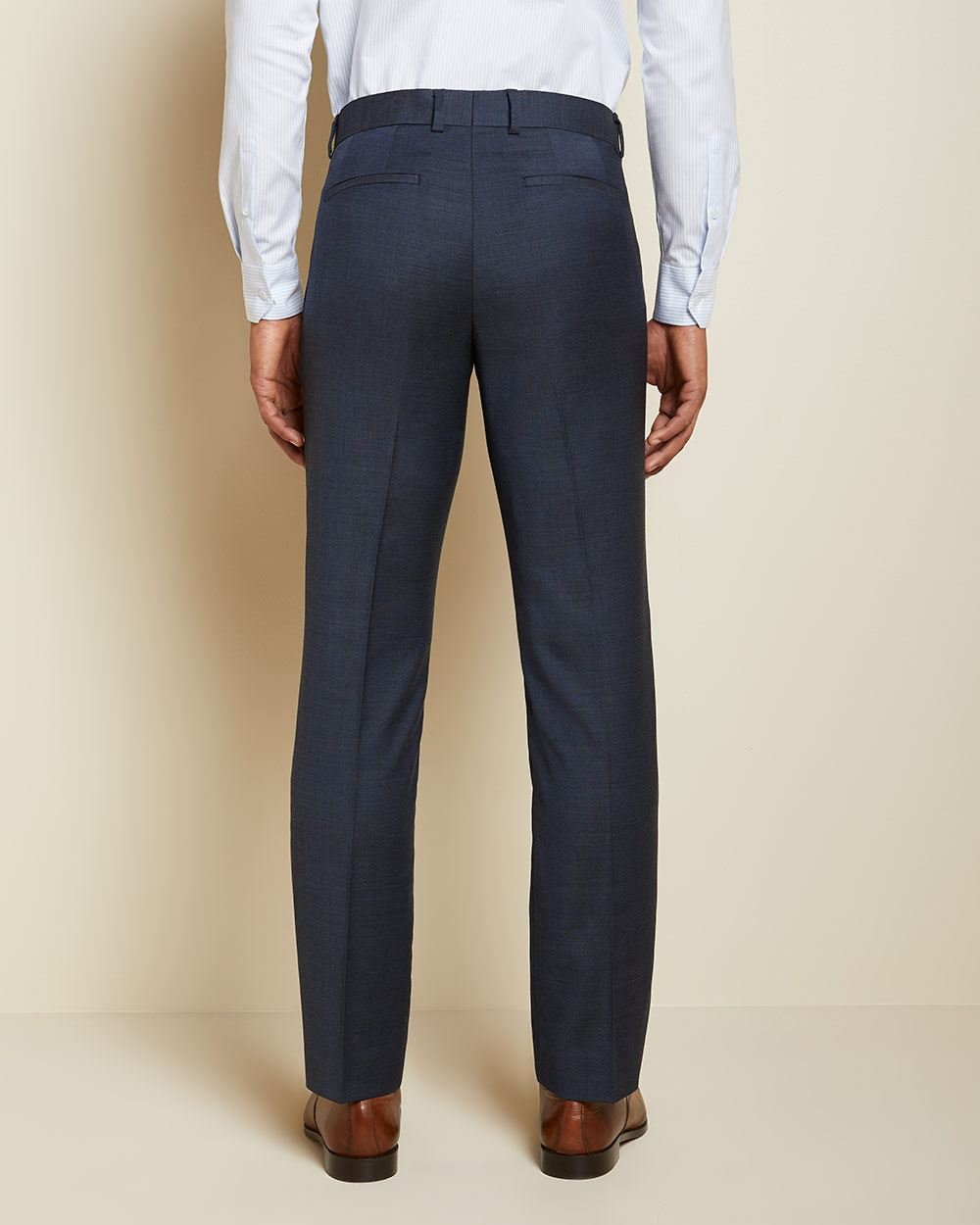 Tailored Fit Blue Two-Tone Wool Suit Pant