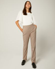 Multicoloured Plaid High-Waist Slim Leg Pant