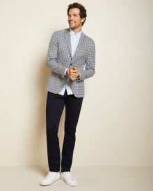 Slim fit grey and blue houndstooth blazer