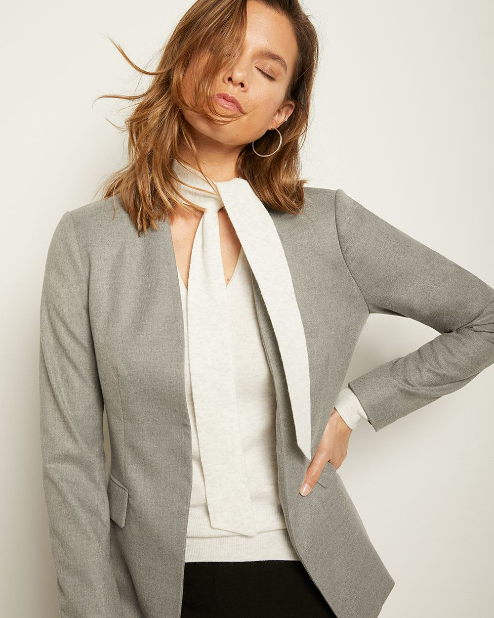 Fitted Grey Flannel Open-Front Blazer