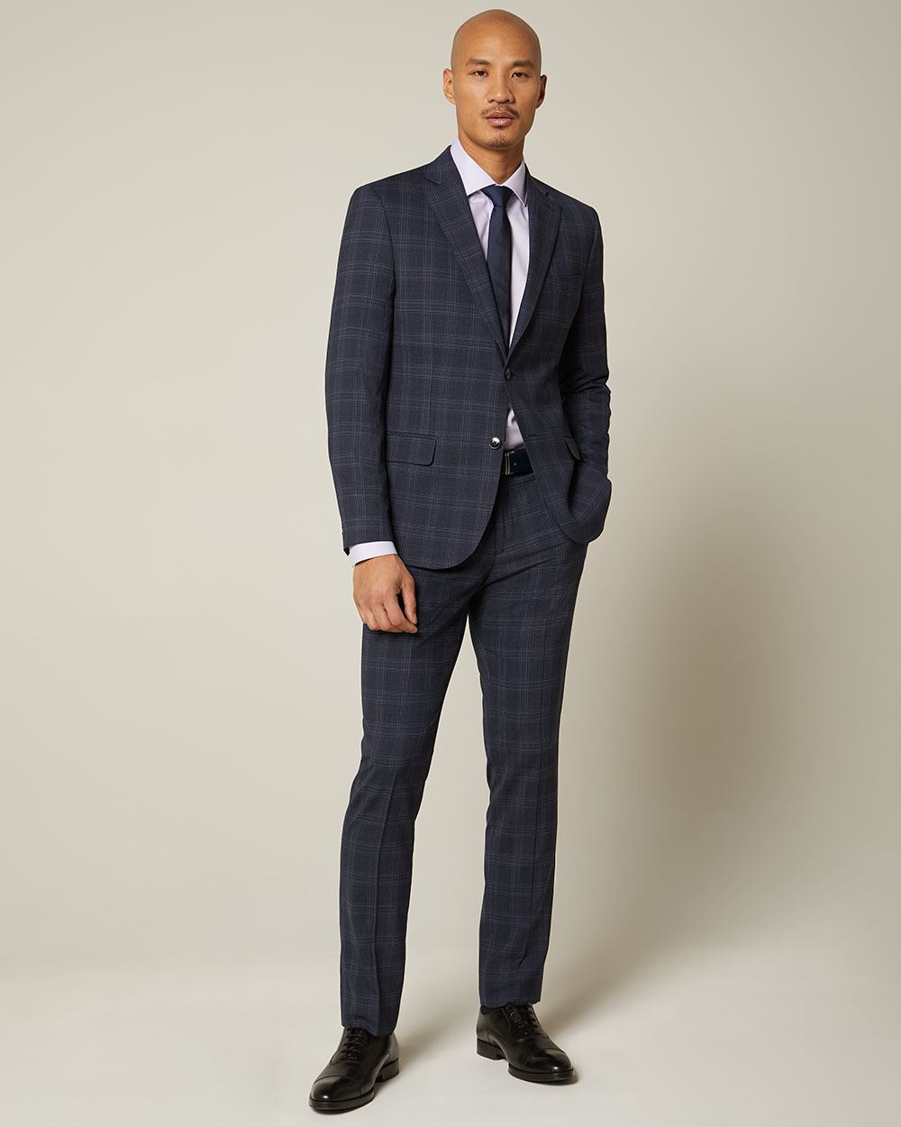 Slim fit checkered navy wool and silk blend suit pant