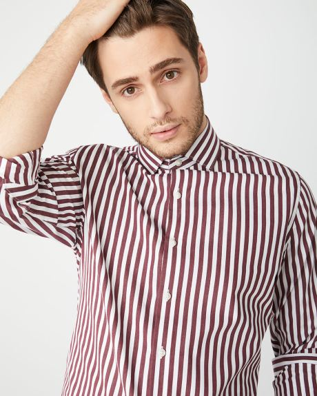 Tailored Fit Verticale Burgundy red stripe shirt