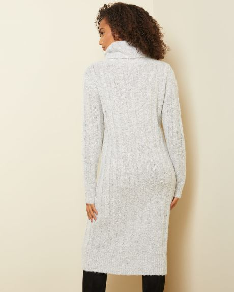 Cowl-neck Cable knit sweater dress