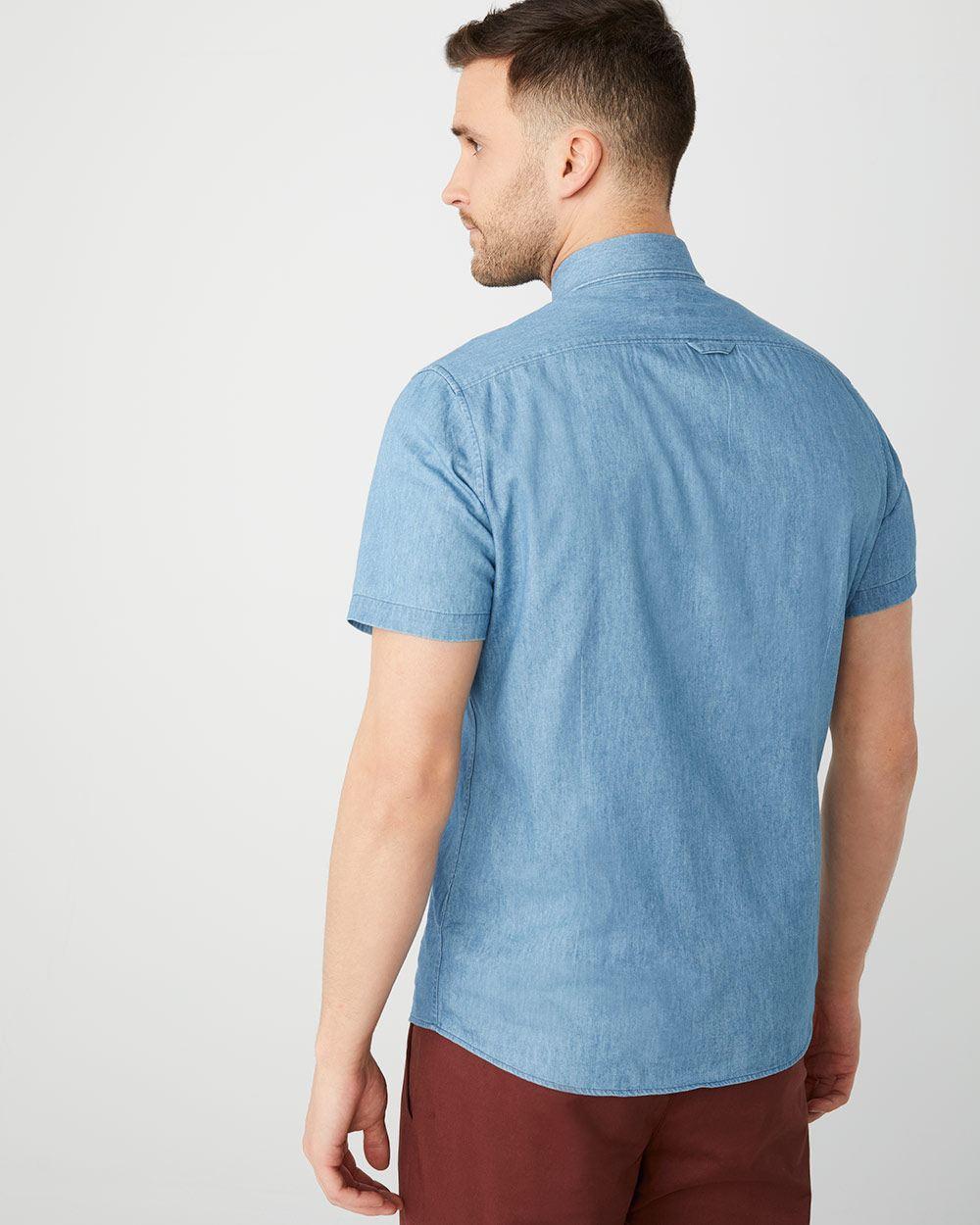 e0a89290b5 Tailored Fit Short sleeve denim shirt