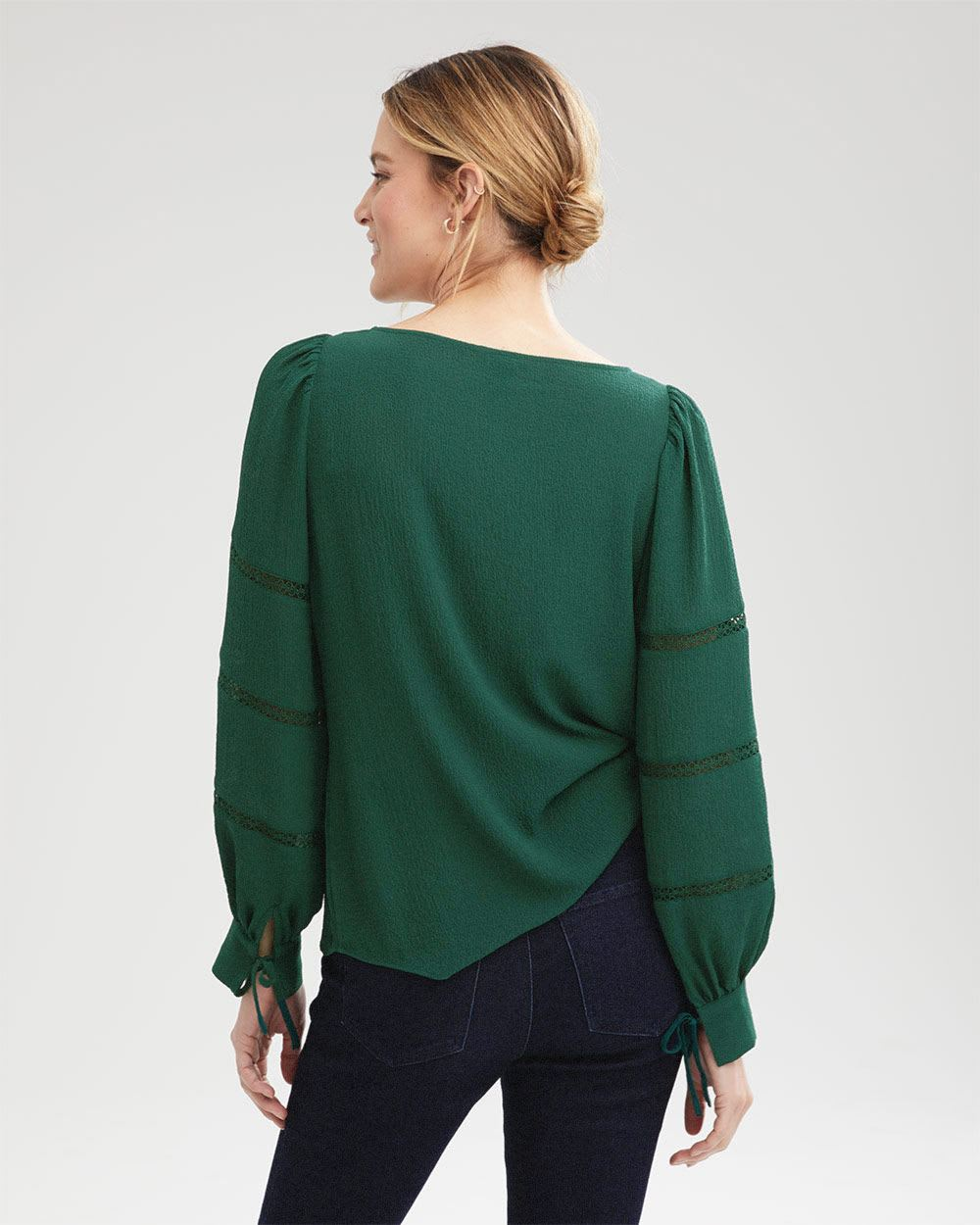 Long Sleeve Popover with Lace Tape Inserts