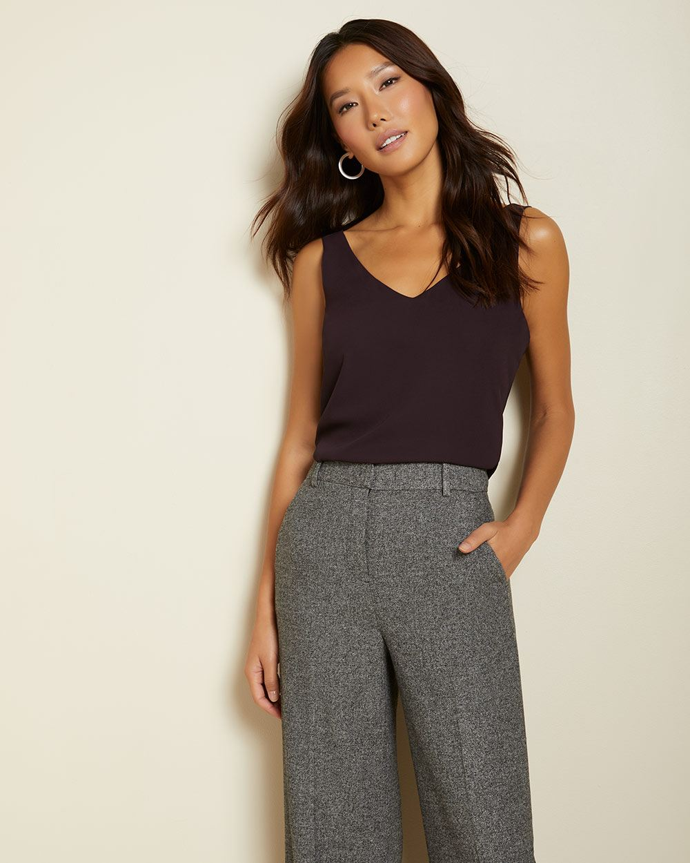 High-waist Grey tweed wide leg Pant