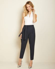 Two-tone navy paper bag pant