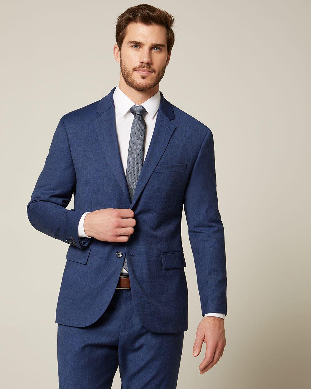 9ee967ee Essential Athletic Fit blue wool-blend suit Blazer | RW&CO.
