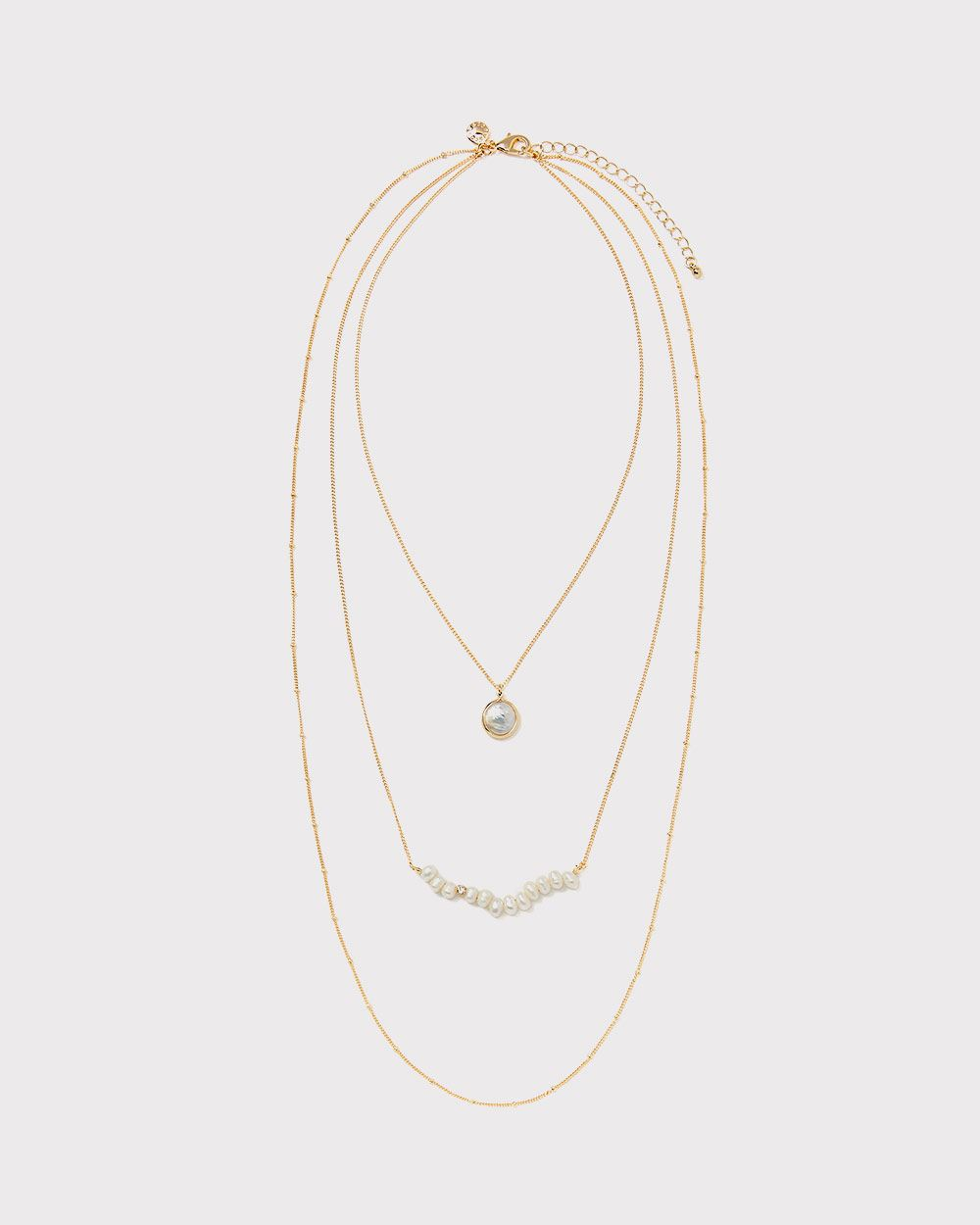 Mother of pearl cluster multilayer necklace