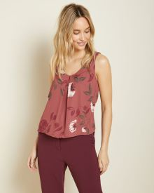 High-low printed silky crepe cami blouse