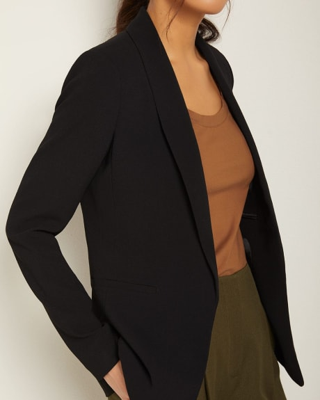 Long Loose-fit open-front crepe blazer