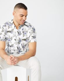 Athletic fit short sleeve floral shirt