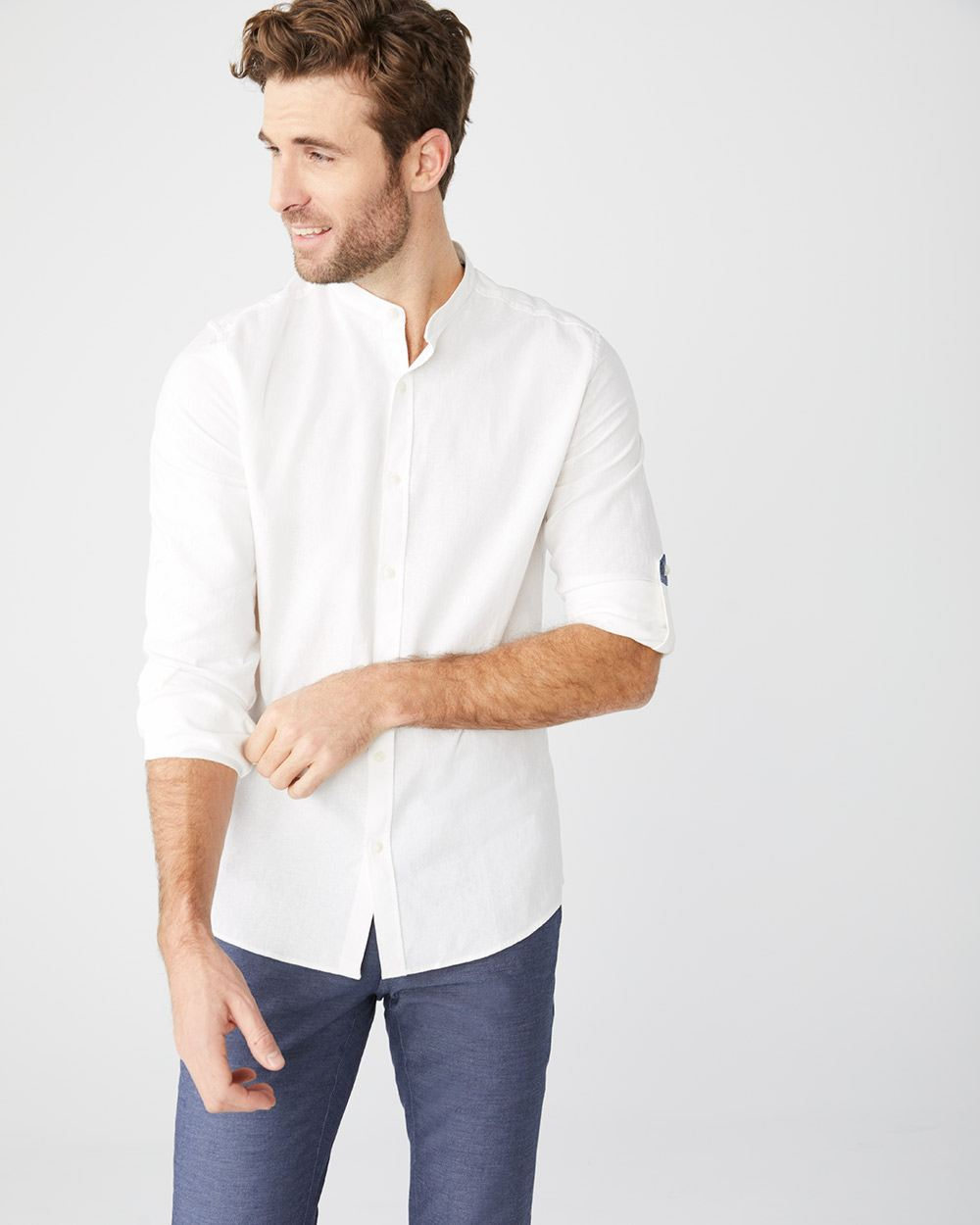 Tailored Fit white linen-blend Shirt with Mandarin collar