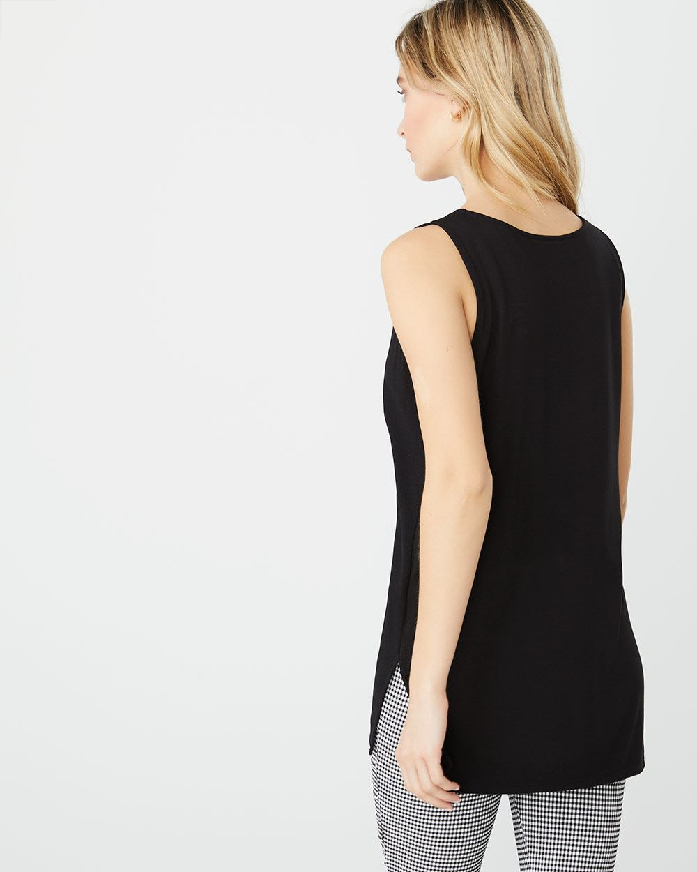 C&G Solid Mixed media Sleeveless tunic t-shirt