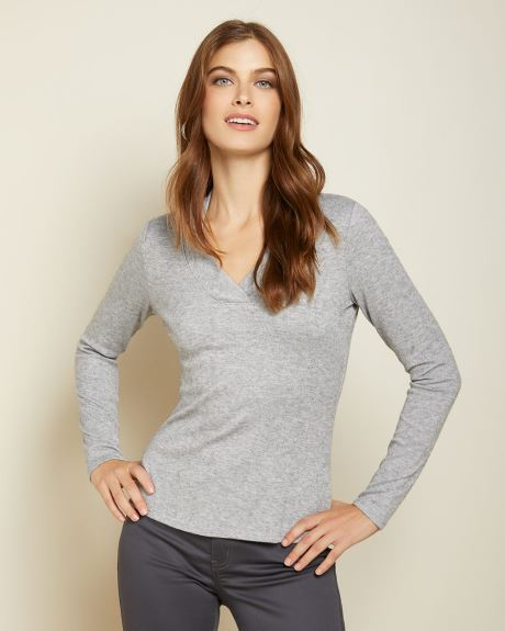 Brushed knit V-neck sweater