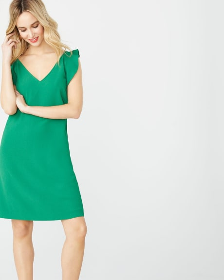 Crepe shift dress with ruffles