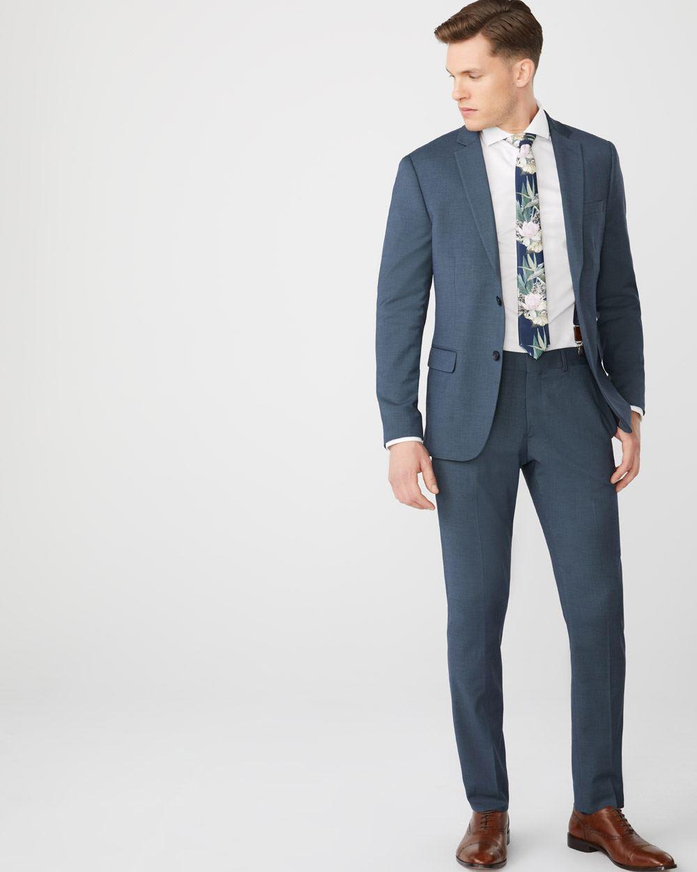 5b11f17f4a Slim Fit Coolmax (TM) Teal blue suit blazer | RW&CO.