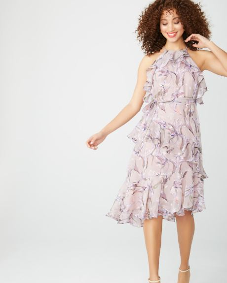 Ruffled cocktail dress in burnout floral print