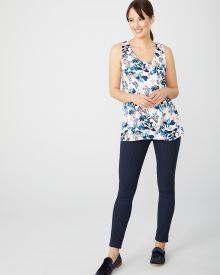 Printed silky crepe sleeveless tunic blouse