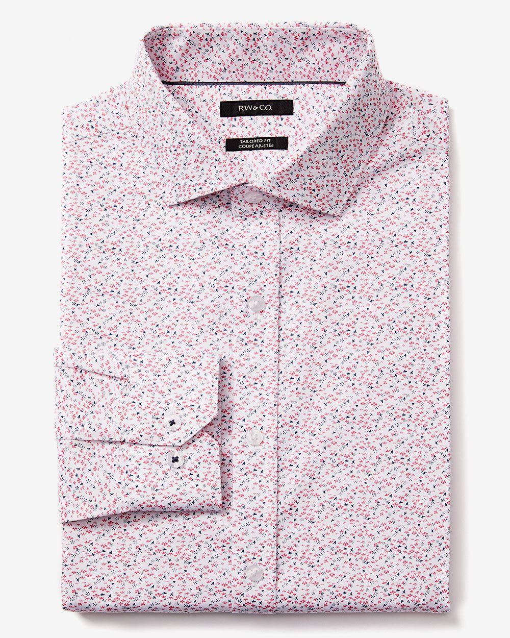 Tailored fit bird print dress shirt rw co for Tailoring a dress shirt