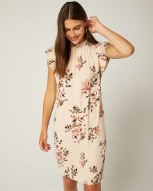Belted Floral Dress with Mock-Neck